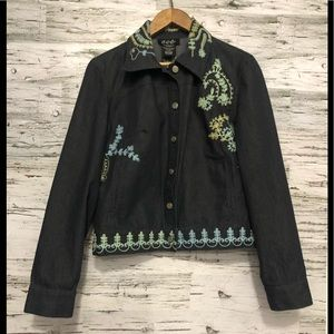 Zoé embroidered denim jacket
